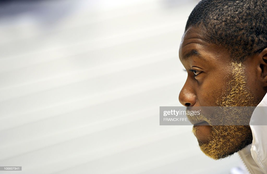 French football forward Djibril Cisse is seen during a press conference in Tignes in the French Alps on May 18, 2010. The French team started in Tignes its preparation for the upcoming FIFA 2010 World Cup. France will play Uruguay in Capetown in its group A opener match on June 11.