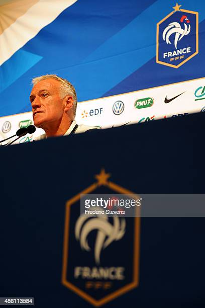 French football head coach Didier Deschamps gives a press conference at the French National Football Team Centre in ClairefontaineenYvelineson August...
