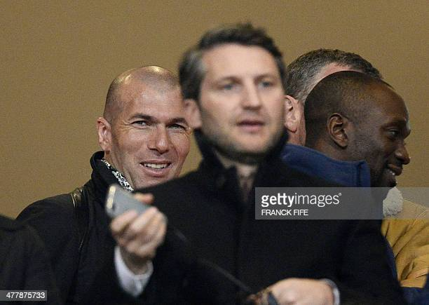 French football legend Zinedine Zidane attends the UEFA Youth League quarterfinal football match between Paris SaintGermain and Real Madrid at the...