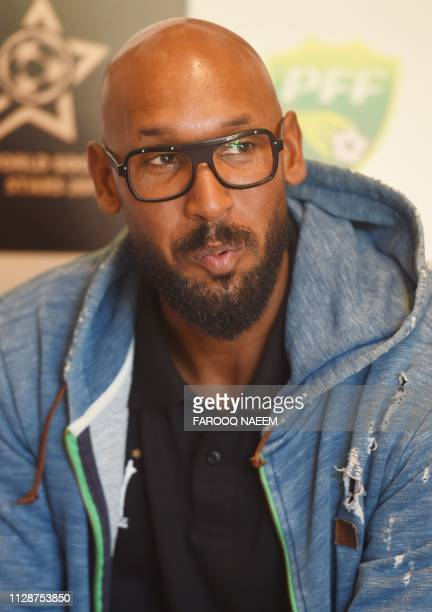 French football manager and former player Nicolas Anelka speaks during an interview to AFP during his visit in Islamabad on March 5 2019