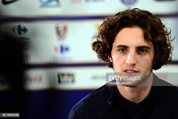 French Football midfielder Adrien Rabiot during the press conference before the training session on November 7 2016 in Clairefontaine France The...