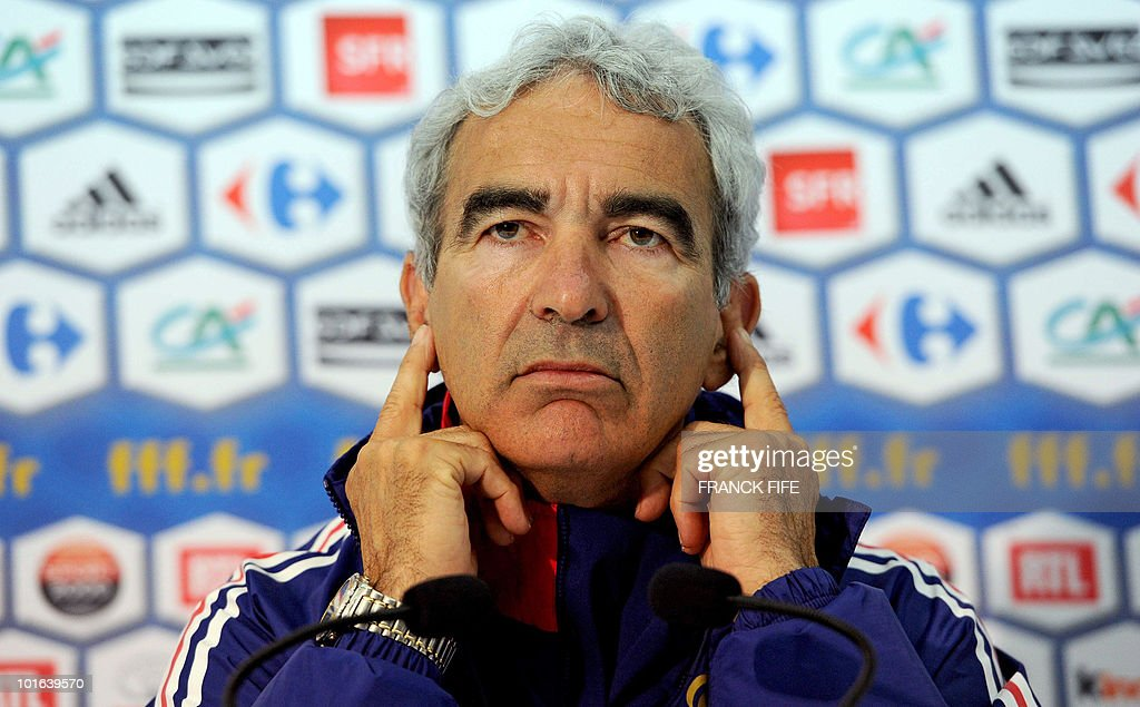 French football national team coach Raymond Domenech makes a speech before a training session, on May 29, 2010, in Sousse, as part of the preparation for the upcoming World Cup 2010. France will play against Uruguay in Capetown in its group A opener match on June 11.