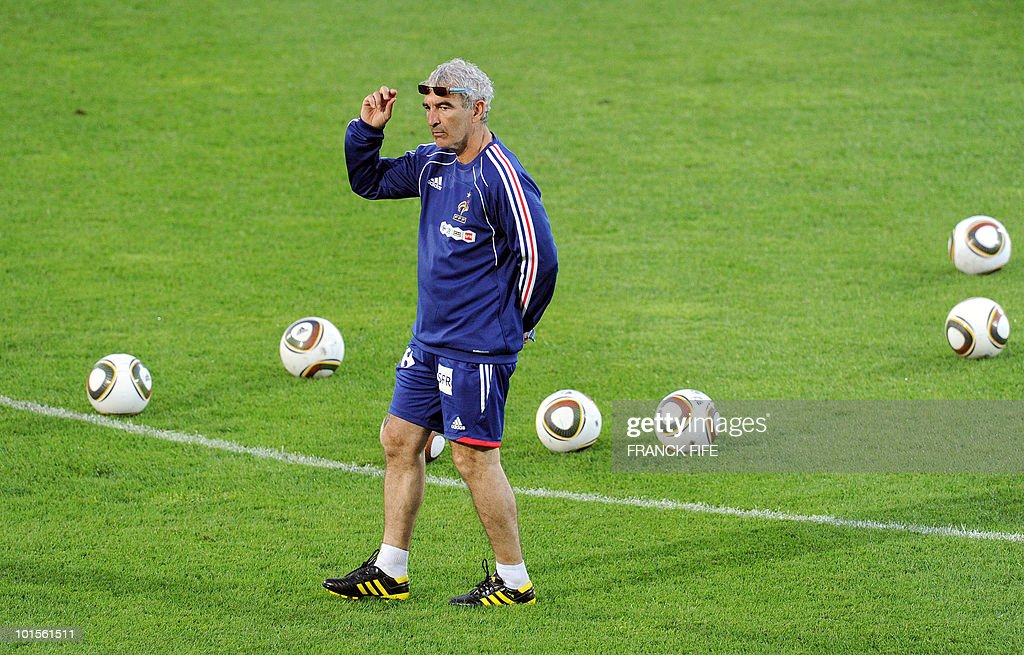 French football national team coach Raymond Domenech takes part in a training session on June 2, 2010 at the Michel Volnay stadium in Saint-Pierre, on the French Indian Ocean island of La Reunion, as part of the preparation for the upcoming World Cup 2010. France have one remaining friendly scheduled against China in Reunion on June 4, 2010. They open their World Cup campaign against Uruguay on June 11.