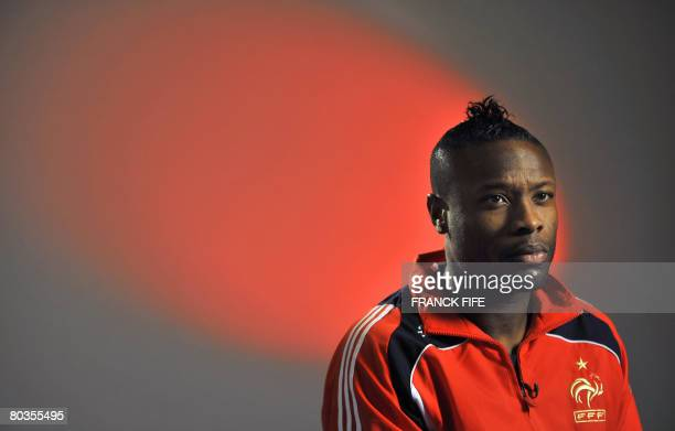 French football national team defender William Gallas gives a press conference on March 24 2008 in ClairefontaineenYvelines near Paris two days...