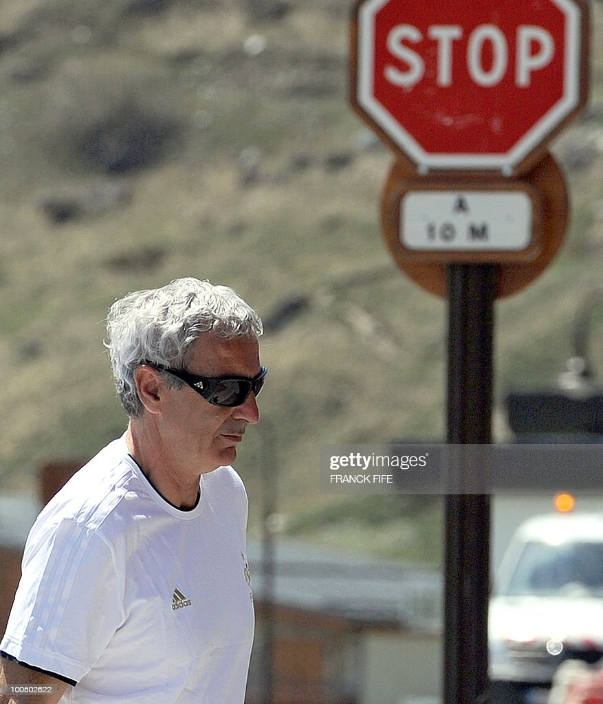 French football national team's coach Raymond Domenech arrives for a press conference after a training session, on May 25, 2010, in Tignes in the French Alps, as part of the preparation for the upcoming World Cup 2010. France will play against Uruguay in Capetown in its group A opener match on June 11.