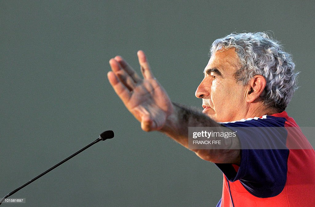 French football national team's coach Raymond Domenech gives a press conference on June 3, 2010 at the Michel Volnay stadium in Saint-Pierre, on the French Indian Ocean island of La Reunion, as part of the team's preparation for the upcoming World Cup 2010. The French team will play China on June 4, the last of its three preparation matches ahead of the FIFA World Cup 2010 hosted by South Africa.