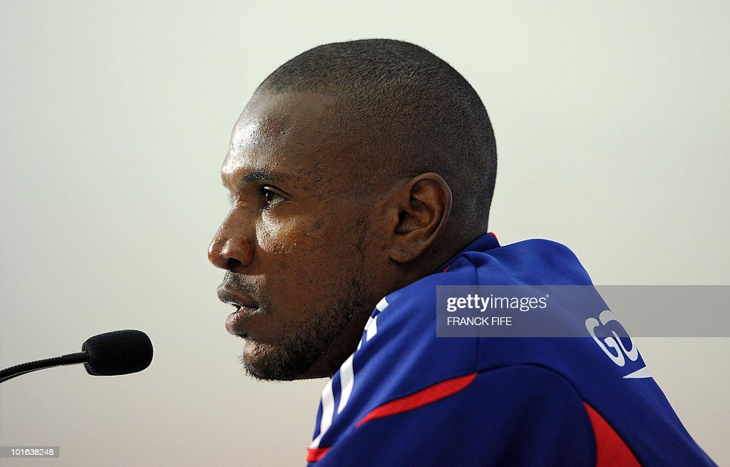 French football national team's defender Eric Abidal during a press conference before a training session on May 29, 2010, in Sousse, as part of the preparation for the upcoming World Cup 2010. France will play against Uruguay in Capetown in its group A opener match on June 11.