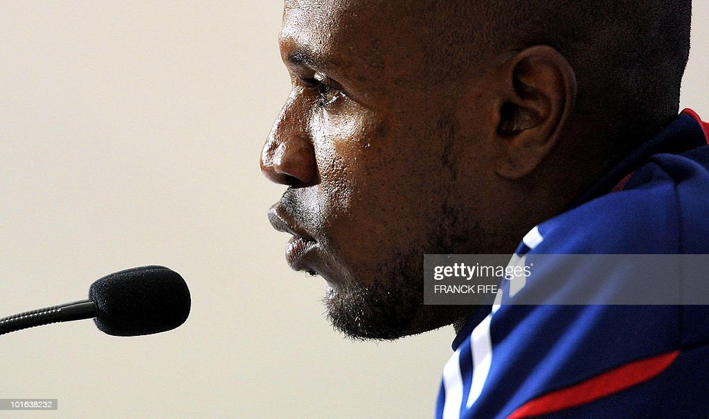 French football national team's defender Eric Abidal speaks during a press conference before a training session on May 29, 2010, in Sousse, as part of the preparation for the upcoming World Cup 2010. France will play against Uruguay in Capetown in its group A opener match on June 11.