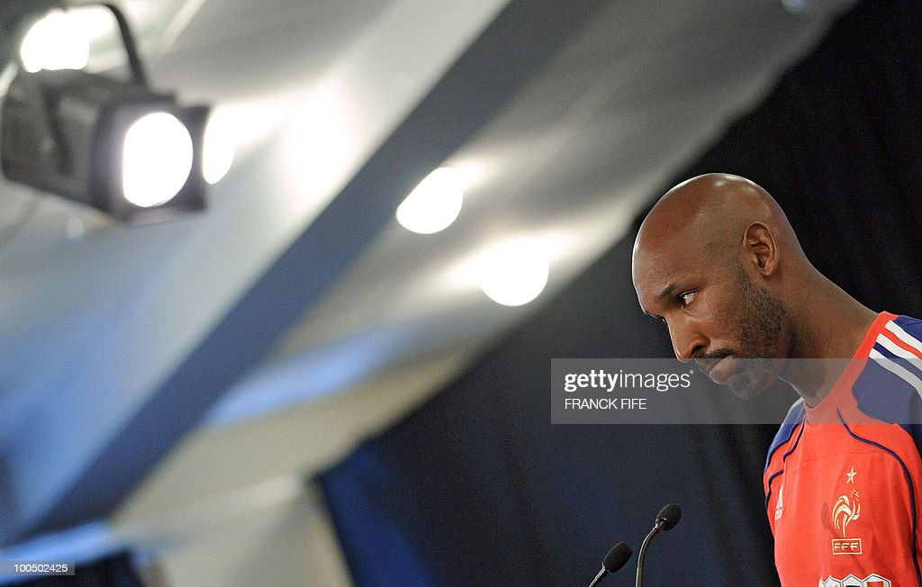 French football national team's forward Nicolas Anelka takes part in a press conference, after a training session, on May 25, 2010, near Tignes in the French Alps, as part of the preparation for the upcoming World Cup 2010. France football national team's coach Raymond Domenech opted yesterday not to call-up a replacement for defensive midfielder Lassana Diarra to his squad for next month's World Cup finals in South Africa.