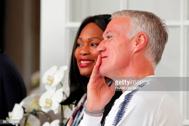 French football national team's head coach Didier Deschamps and French minister of sport, Laura Flessel wait for the arrival of French President...