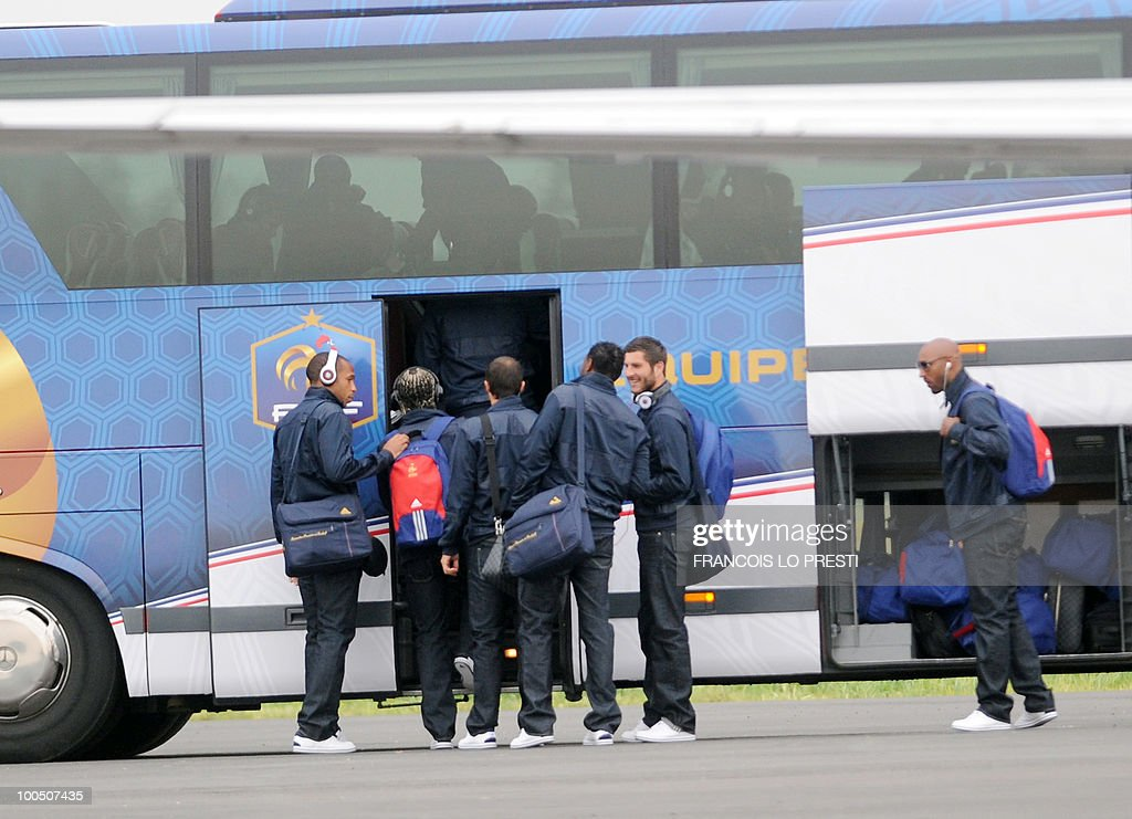 French football national team's players prepare on May 25, 2010 in the French northern city of Valenciennes to get in a bus heading to Lens where France is to play against Costa-Rica for a friendly game, on May 26, 2010. Domenech revealed a 23-man squad for the upcoming 2010 World Cup which included the Arsenal defender William Gallas who is recovering from a calf injury, however the Frenchman said that until June 1 - when all federations must submit their final teams to FIFA - nothing was definitive.
