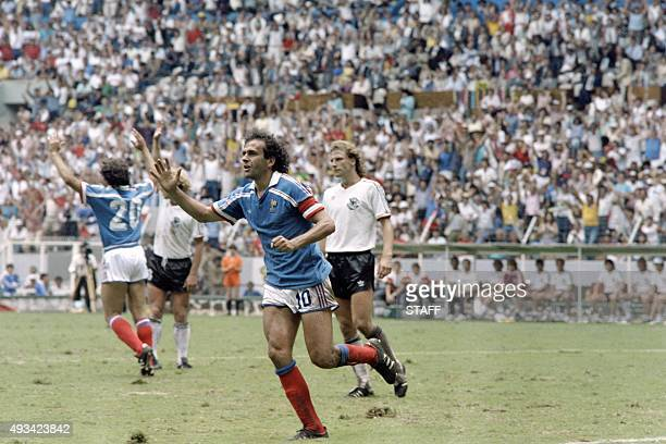 French football player Michel Platini reacts during the World Cup football match between France and Germany, on June 25, 1986 in Guadalajara.