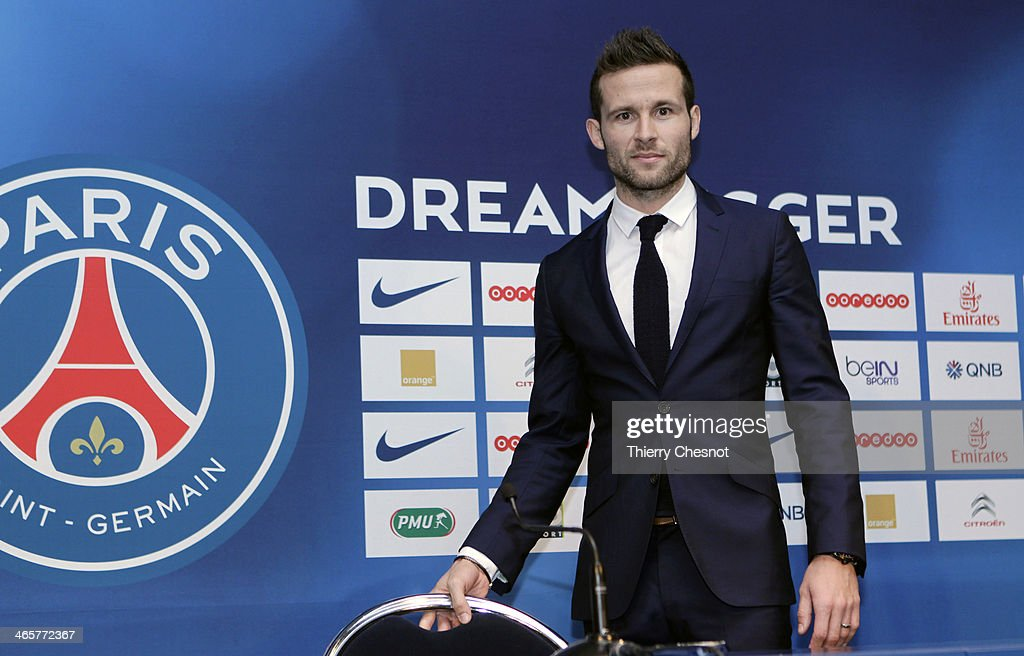 French football player Yohan Cabaye attends a press conference after completing a transfer from Newcastle United to Paris St Germain, at the Parc des Princes stadium on January 29, 2014 in Paris, France.