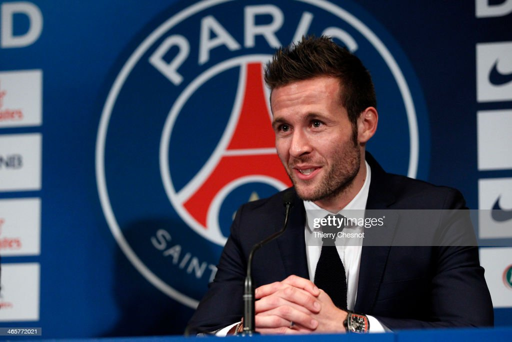 French football player Yohan Cabaye speaks to the media during a press conference after completing a transfer from Newcastle United to Paris St Germain at the Parc des Princes Stadium on January 29, 2014 in Paris, France.