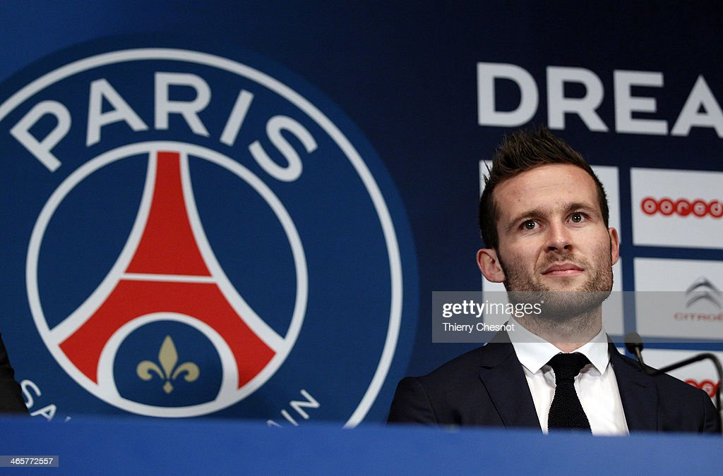 French football player Yohan Cabaye speaks to the media during a press conference after completing a transfer from Newcastle United to Paris St Germain, at the Parc des Princes stadium on January 29, 2014 in Paris, France.