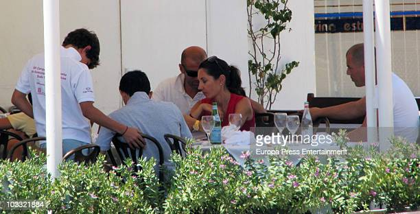 French football player Zinedine Zidane is seen having lunch with his family on August 6 2010 in Ibiza Spain