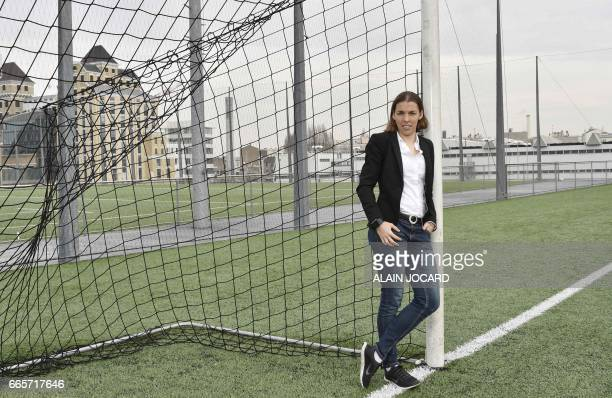 French football referee Stephanie Frappart poses for a photograph on the goal line on February 24 in Paris