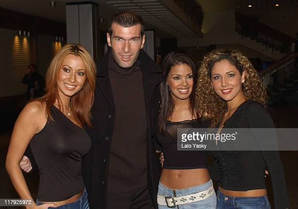 French Football Star Zinedine Zidane Poses With Members of Latin Pop Group 'Miami Sound Machine' after a Press Conference for the FIFA World Player...