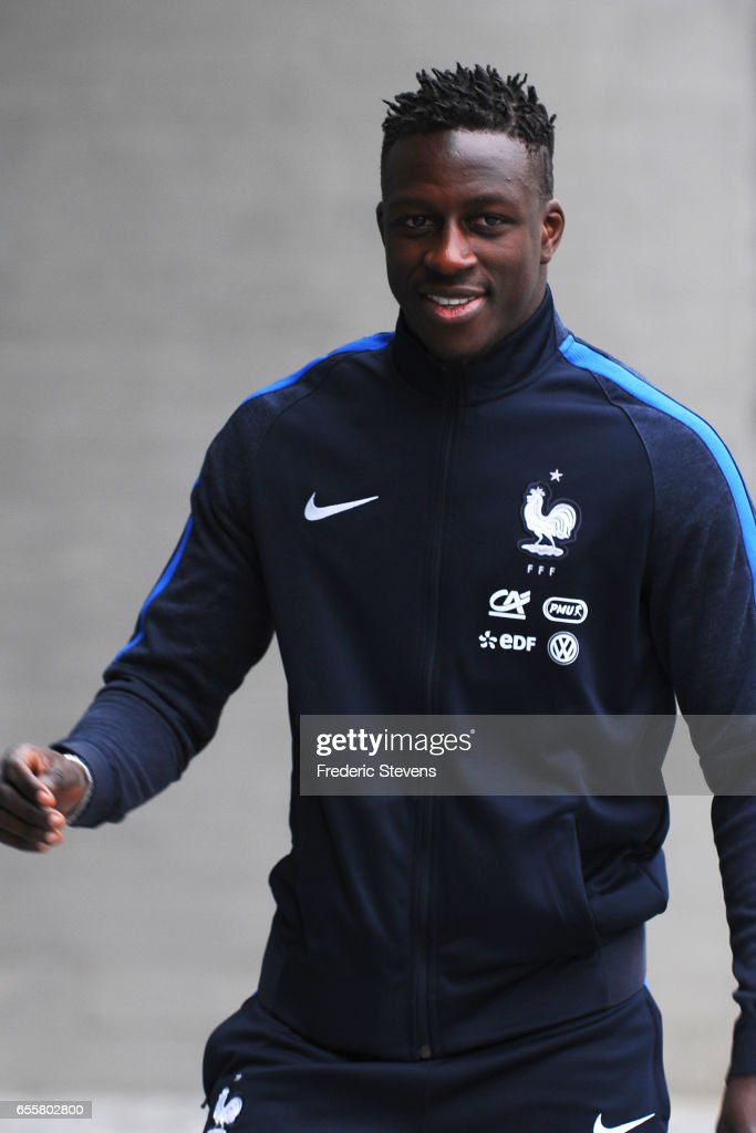 French Football Team defender Benjamin Mendy arrives for the press conference before the training session on March 20, 2017 in Clairefontaine, France. The training session comes before the upcoming qualifying match against Luxembourg next saturday for the 2018 World Cup.