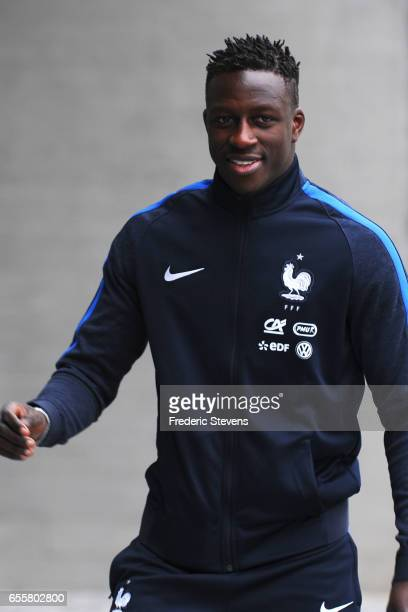 French Football Team defender Benjamin Mendy arrives for the press conference before the training session on March 20 2017 in Clairefontaine France...