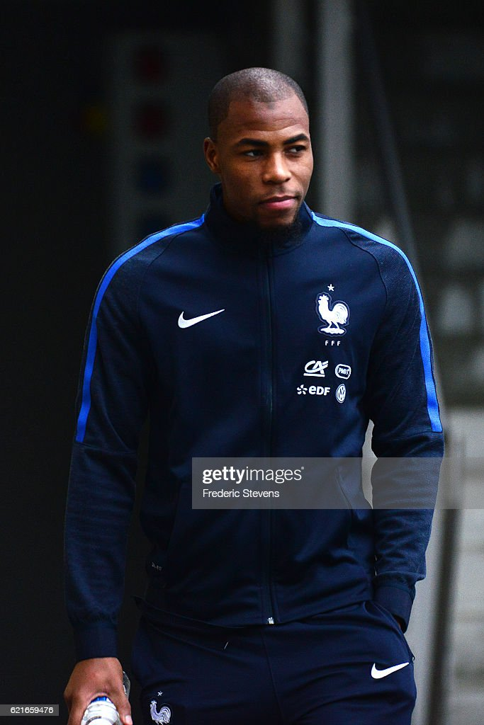 French Football Team defender Djibril Sidibe arrives for a press conference before the training session on November 7, 2016 in Clairefontaine, France. The first training ahead of the team upcoming qualifying match next friday against Sweden for the 2018 World Cup.