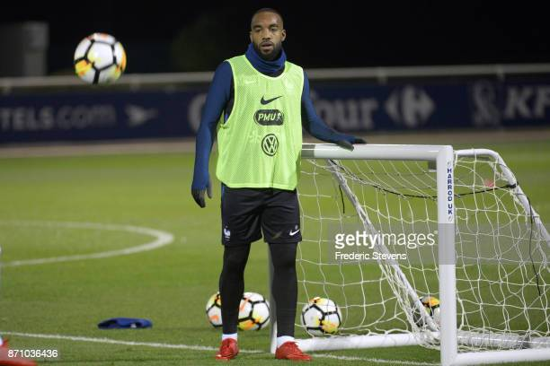 French Football Team forward Alexandre Lacazette during the training session on November 6 2017 in Clairefontaine France The training session comes...