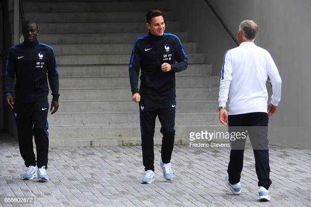 French Football Team forward Florian Thauvin and midfielder N'golo Kante arrive for the press conference before the training session on March 20 2017...
