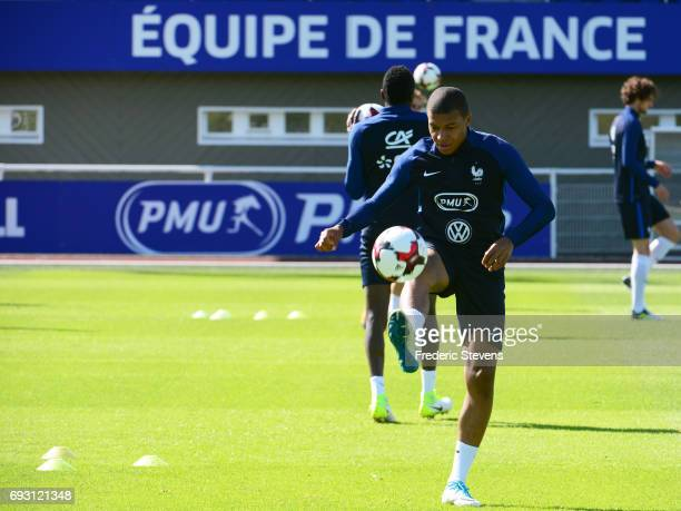French Football Team forward Kylian Mbappe during the training session on June 6 2017 in Clairefontaine France The training session comes before the...