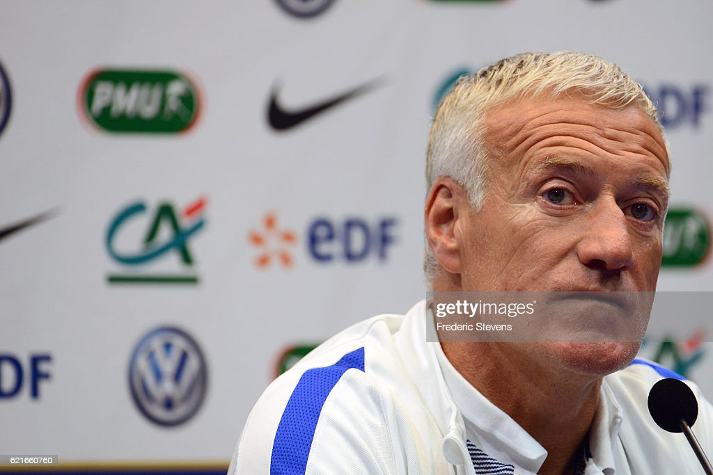 French Football Team head coach Didier Deschamps during the press conference before the training sessionon November 7, 2016 in Clairefontaine, France. The first training ahead of the team upcoming qualifying match next friday against Sweden for the 2018 World Cup.