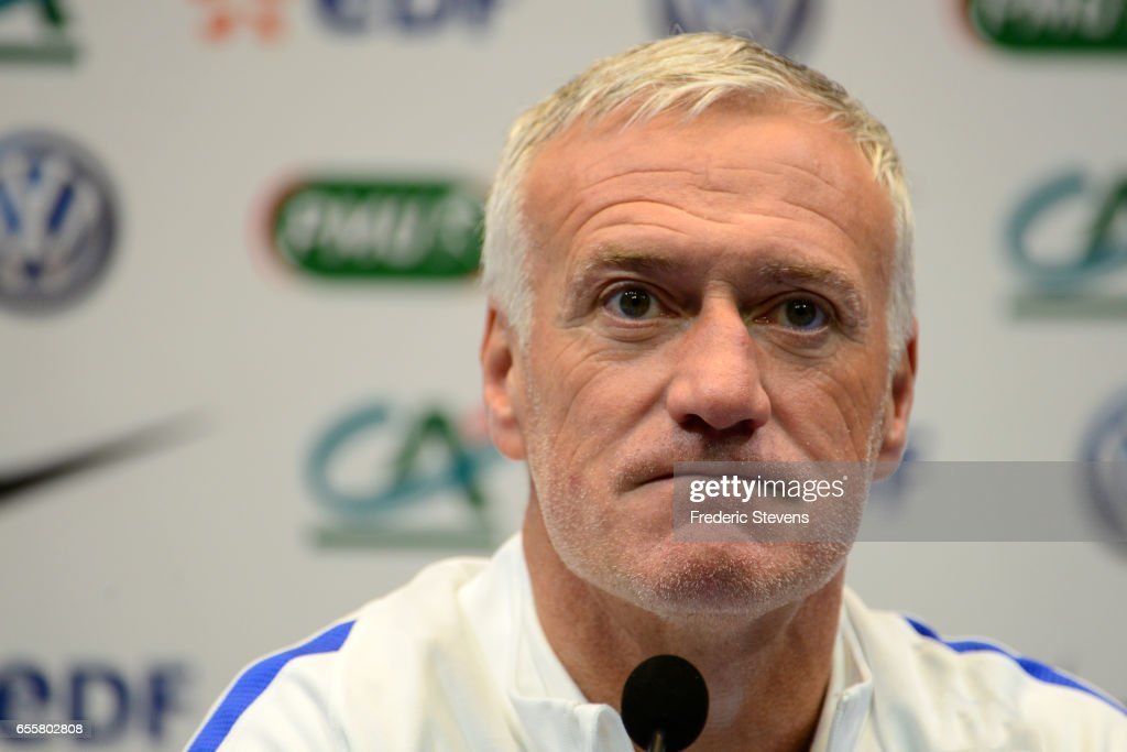 French Football Team head coach Didier Deschamps during the press conference before the training session on March 20, 2017 in Clairefontaine, France. The training session comes before the upcoming qualifying match against Luxembourg next saturday for the 2018 World Cup.