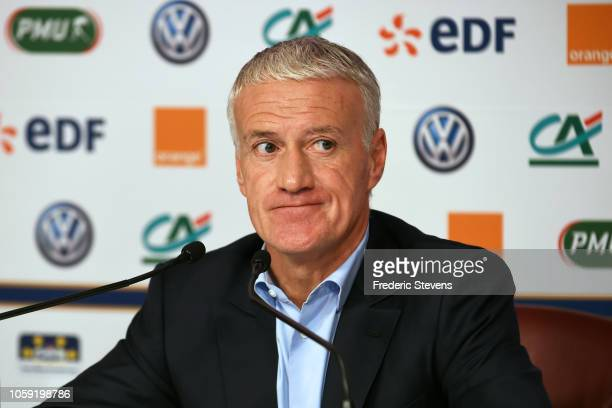 French football team head coach Didier Deschamps gives a press conference at the French Football Federation headquarters on November 8 2018 in Paris...