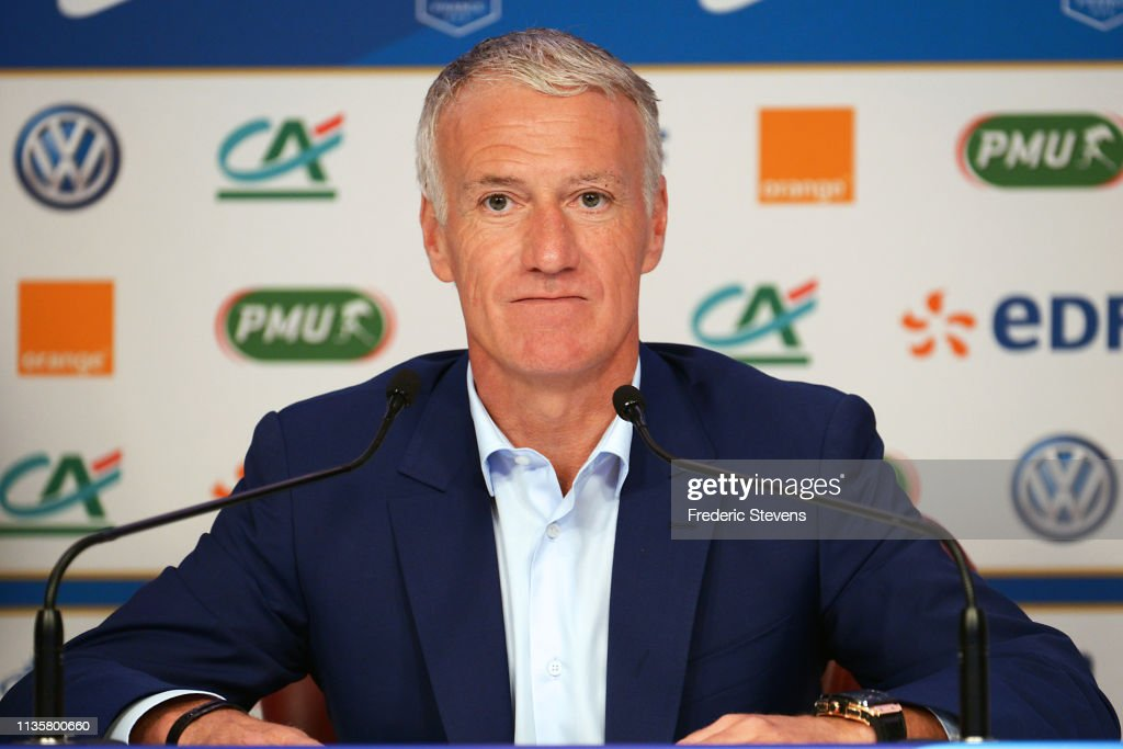 France Soccer Head Coach Didier Deschamps Gives A Press Conference : News Photo