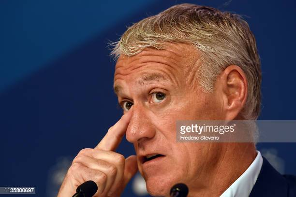 French football team head coach Didier Deschamps gives a press conference at the French Football Federation headquarters on March 14 2019 in Paris...