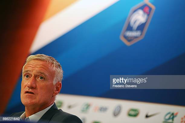 French football team head coach Didier Deschamps gives a press conference at the French Football Federation headquarters to announce the players...