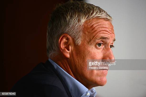 French football team head coach Didier Deschamps gives a press conference at the French Football Federation headquarters on November 3 2016 in Paris...