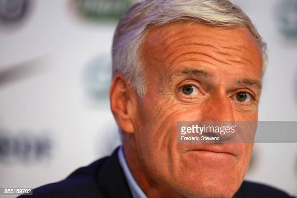 French football team head coach Didier Deschamps gives a press conference at the French Football Federation headquarters on September 28 2017 in...