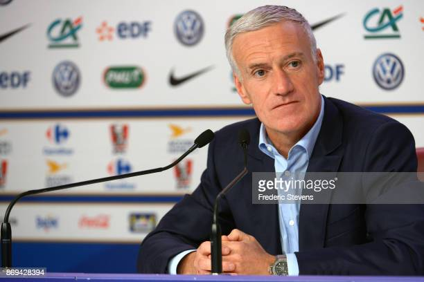 French football team head coach Didier Deschamps gives a press conference at the French Football Federation headquarters on November 2 2017 in Paris...