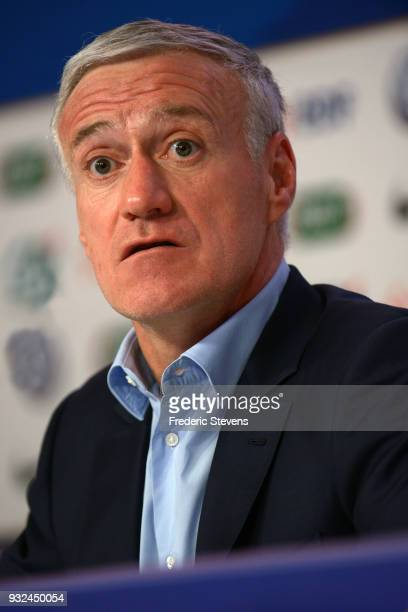 French football team head coach Didier Deschamps gives a press conference at the French Football Federation headquarters on March 15 2018 in Paris...