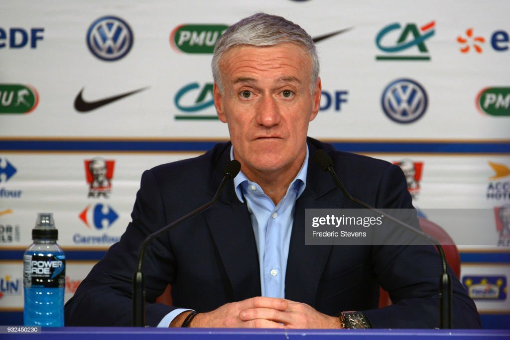 Coach of France Soccer Team Didier Deschamps Gives A Press Conference In Paris : News Photo