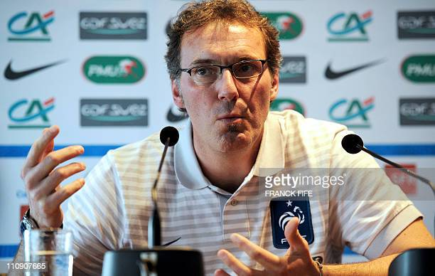 French football team head coach Laurent Blanc gives a press conference the day after the Euro 2012 qualifying match France vs Luxembourg on March 26...