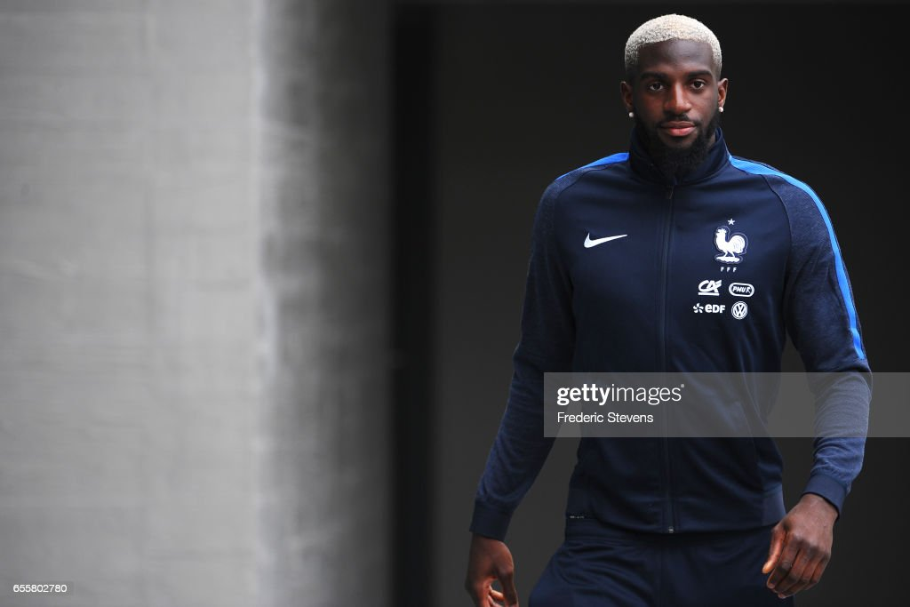 French Football Team midfielder Tiemoue Bakayoko arrives for the press conference before the training session on March 20, 2017 in Clairefontaine, France. The training session comes before the upcoming qualifying match against Luxembourg next saturday for the 2018 World Cup.