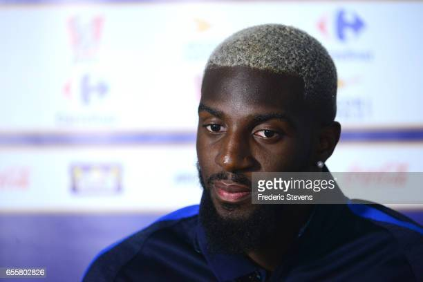 French Football Team midfielder Tiemoue Bakayoko during the press conference before the training session on March 20 2017 in Clairefontaine France...