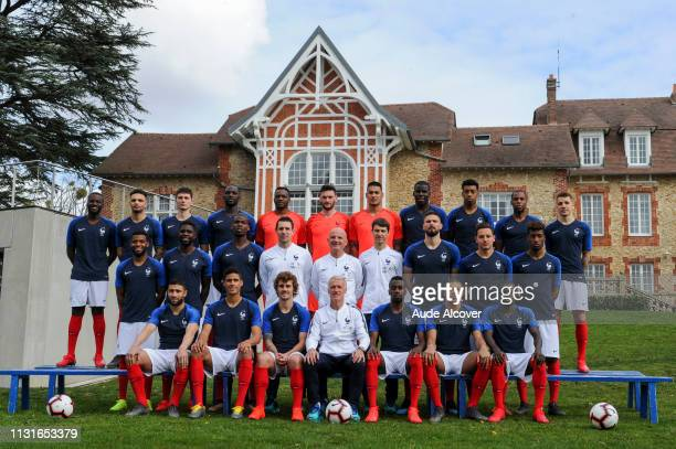 French Football Team Official Picture at Centre National du Football on March 20 2019 in ClairefontaineenYvelines France Tanguy Ndombele Layvin...