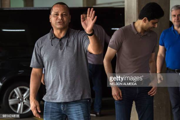 French football team Paris SaintGermain's Qatari president Nasser AlKhelaifi and Neymar Santos father of Brazilian superstar and PSG's footballer...