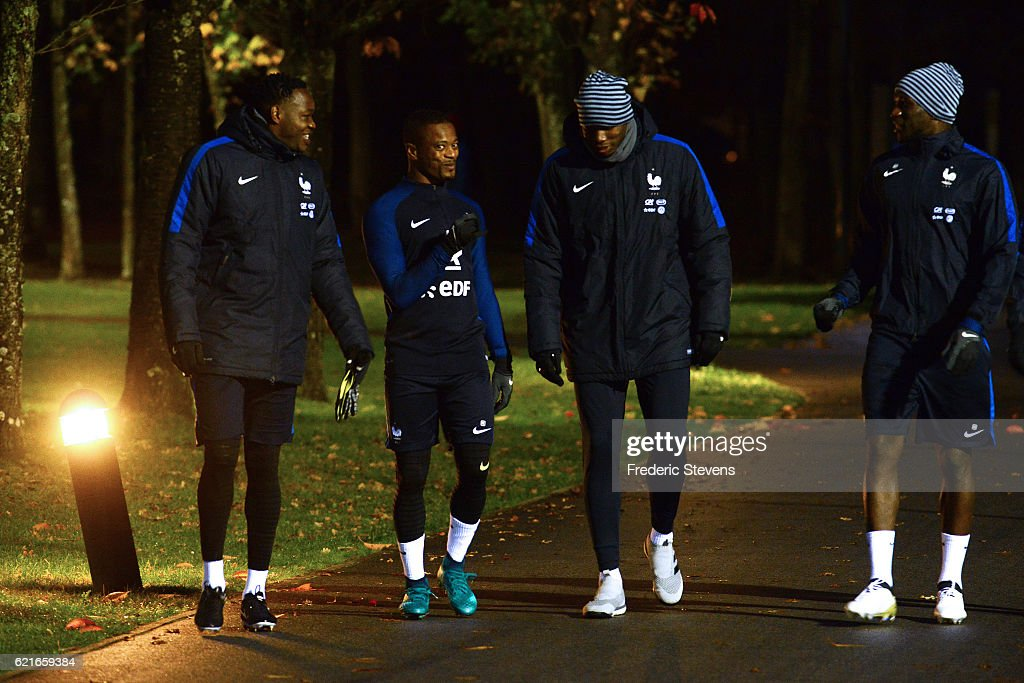 French Football Team Steve Mandanda, Patrice Evra, Paul Pogba, Moussa Sissoko arrive for the training session on November 7, 2016 in Clairefontaine, France. The first training ahead of the team upcoming qualifying match next friday against Sweden for the 2018 World Cup.
