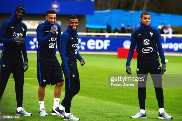 French Football Team Tiemoue Bakayoko Corentin Tolisso Thomas Lemar Kylian Mbappe during the training session on March 20 2017 in Clairefontaine...