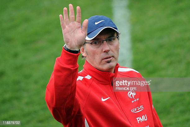French football team's head coach Laurent Blanc gestures during a training session the day after the Euro 2012 qualifying match France versus...