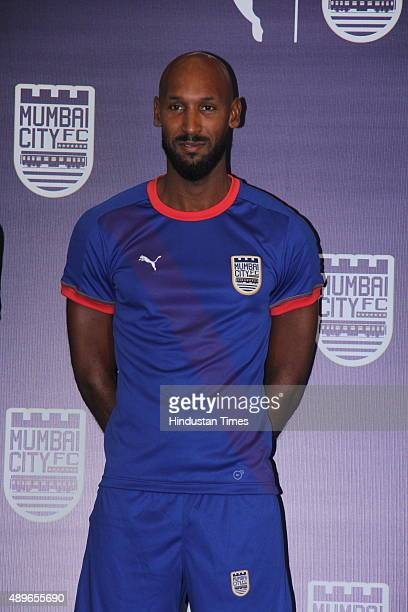 French footballer and playermanager of Mumbai City FC Nicolas Anelka during the launch of new Puma home kit for Mumbai City FC for Indian Super...