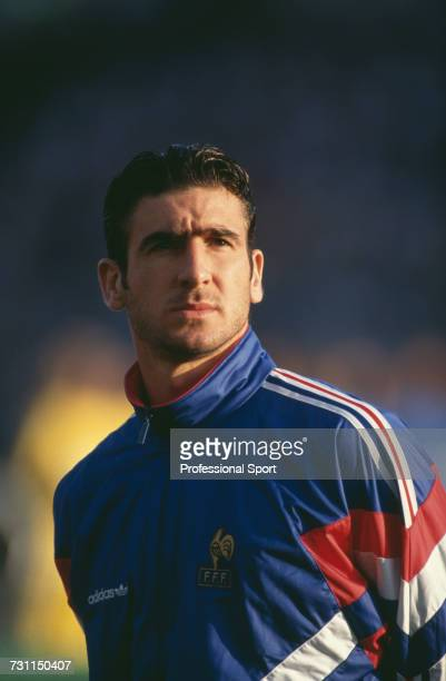 French footballer Eric Cantona pictured standing on the pitch prior to the group 1 match between Sweden and France in the UEFA Euro 1992 Championship...