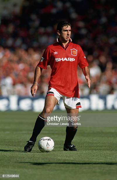 French footballer Eric Cantona plays for Manchester United against Blackburn Rovers in the Charity Shield Cup